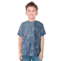 Flower Floral Blue Rose Star Kids  Cotton Tee