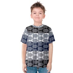 Digital Print Scrapbook Flower Leaf Colorgray Black Purple Blue Kids  Cotton Tee