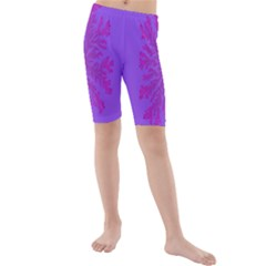 Dendron Diffusion Aggregation Flower Floral Leaf Red Purple Kids  Mid Length Swim Shorts