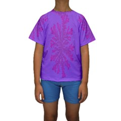 Dendron Diffusion Aggregation Flower Floral Leaf Red Purple Kids  Short Sleeve Swimwear