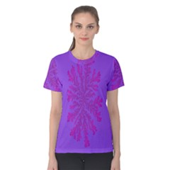 Dendron Diffusion Aggregation Flower Floral Leaf Red Purple Women s Cotton Tee