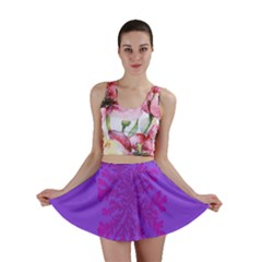 Dendron Diffusion Aggregation Flower Floral Leaf Red Purple Mini Skirt