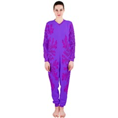 Dendron Diffusion Aggregation Flower Floral Leaf Red Purple OnePiece Jumpsuit (Ladies)