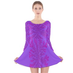 Dendron Diffusion Aggregation Flower Floral Leaf Red Purple Long Sleeve Velvet Skater Dress