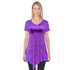 Dendron Diffusion Aggregation Flower Floral Leaf Red Purple Short Sleeve Tunic