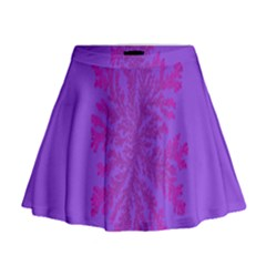 Dendron Diffusion Aggregation Flower Floral Leaf Red Purple Mini Flare Skirt