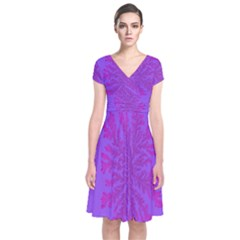 Dendron Diffusion Aggregation Flower Floral Leaf Red Purple Short Sleeve Front Wrap Dress