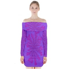 Dendron Diffusion Aggregation Flower Floral Leaf Red Purple Long Sleeve Off Shoulder Dress