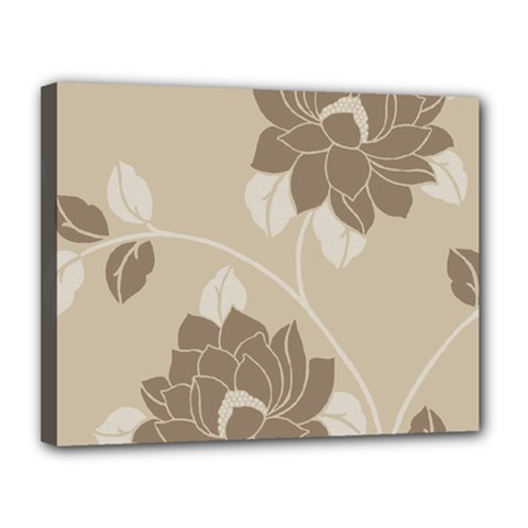 Flower Floral Grey Rose Leaf Canvas 14  x 11