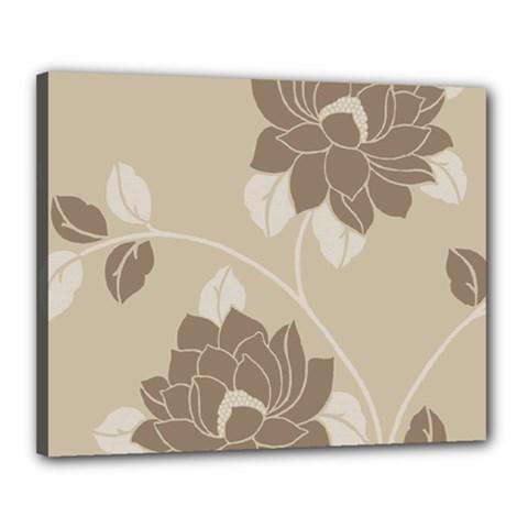 Flower Floral Grey Rose Leaf Canvas 20  x 16
