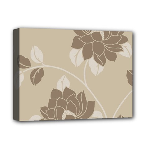 Flower Floral Grey Rose Leaf Deluxe Canvas 16  x 12