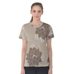 Flower Floral Grey Rose Leaf Women s Cotton Tee
