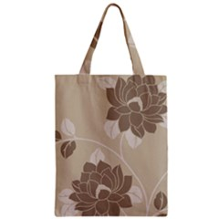 Flower Floral Grey Rose Leaf Zipper Classic Tote Bag