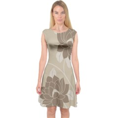 Flower Floral Grey Rose Leaf Capsleeve Midi Dress