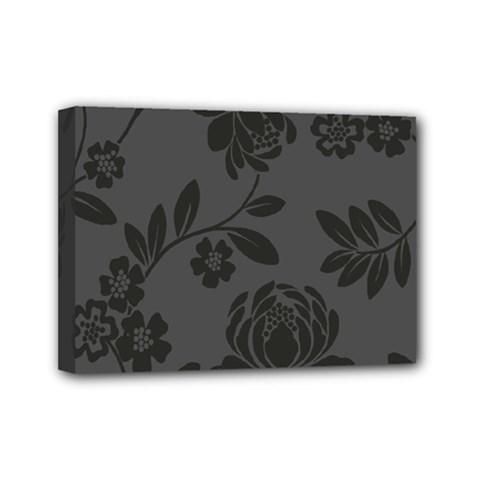 Flower Floral Rose Black Mini Canvas 7  x 5