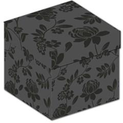 Flower Floral Rose Black Storage Stool 12