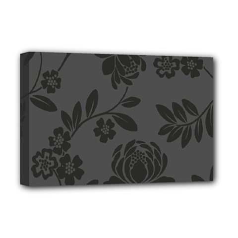 Flower Floral Rose Black Deluxe Canvas 18  x 12
