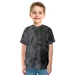 Flower Floral Rose Black Kids  Sport Mesh Tee