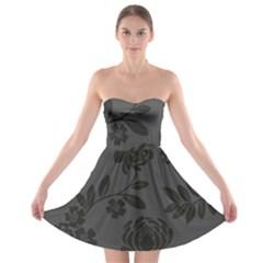 Flower Floral Rose Black Strapless Bra Top Dress