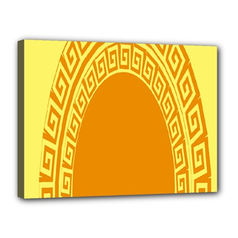 Greek Ornament Shapes Large Yellow Orange Canvas 16  x 12