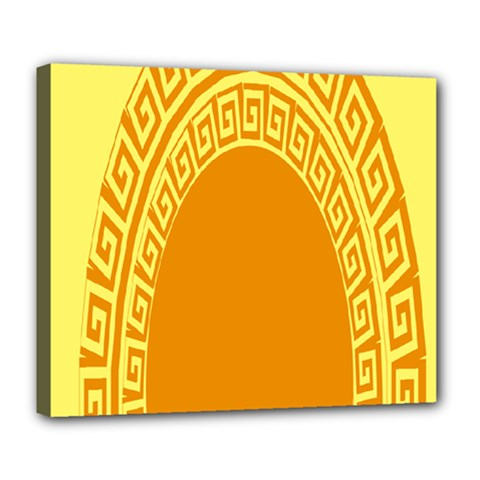 Greek Ornament Shapes Large Yellow Orange Deluxe Canvas 24  x 20