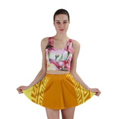 Greek Ornament Shapes Large Yellow Orange Mini Skirt