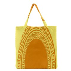 Greek Ornament Shapes Large Yellow Orange Grocery Tote Bag
