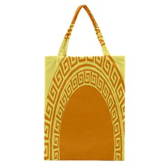 Greek Ornament Shapes Large Yellow Orange Classic Tote Bag