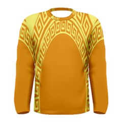 Greek Ornament Shapes Large Yellow Orange Men s Long Sleeve Tee