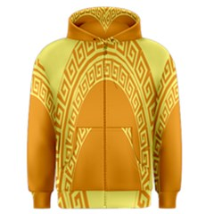 Greek Ornament Shapes Large Yellow Orange Men s Zipper Hoodie