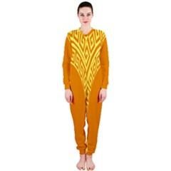 Greek Ornament Shapes Large Yellow Orange OnePiece Jumpsuit (Ladies)