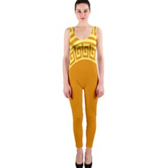Greek Ornament Shapes Large Yellow Orange OnePiece Catsuit