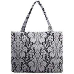Flower Floral Grey Black Leaf Mini Tote Bag