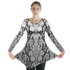 Flower Floral Grey Black Leaf Long Sleeve Tunic