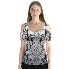 Flower Floral Grey Black Leaf Butterfly Sleeve Cutout Tee