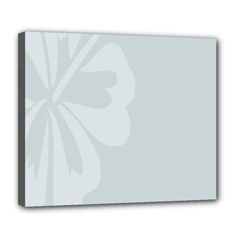 Hibiscus Sakura Glacier Gray Deluxe Canvas 24  x 20