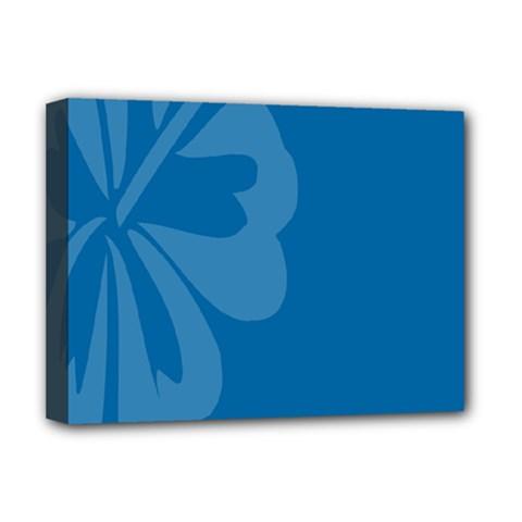 Hibiscus Sakura Classic Blue Deluxe Canvas 16  x 12