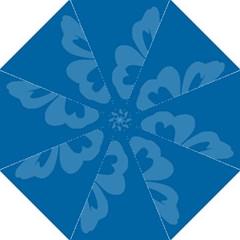 Hibiscus Sakura Classic Blue Hook Handle Umbrellas (Large)