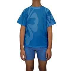 Hibiscus Sakura Classic Blue Kids  Short Sleeve Swimwear