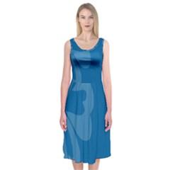Hibiscus Sakura Classic Blue Midi Sleeveless Dress