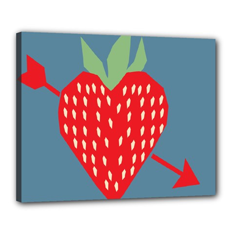 Fruit Red Strawberry Canvas 20  x 16