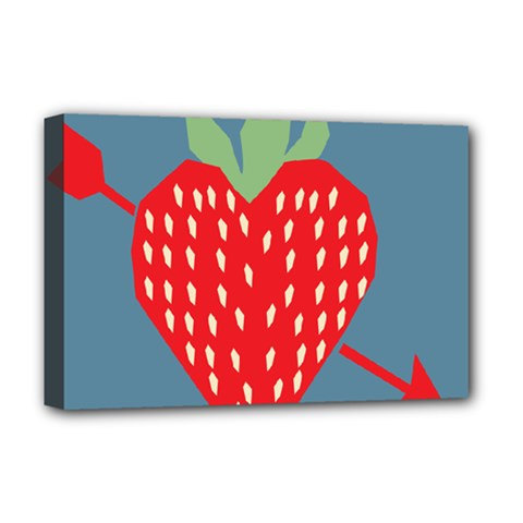 Fruit Red Strawberry Deluxe Canvas 18  x 12