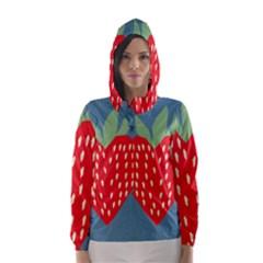 Fruit Red Strawberry Hooded Wind Breaker (Women)