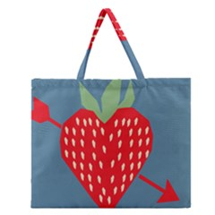 Fruit Red Strawberry Zipper Large Tote Bag