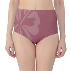 Hibiscus Sakura Red High-Waist Bikini Bottoms