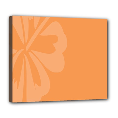 Hibiscus Sakura Tangerine Orange Deluxe Canvas 24  x 20