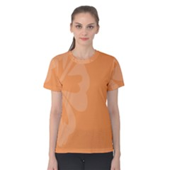 Hibiscus Sakura Tangerine Orange Women s Cotton Tee