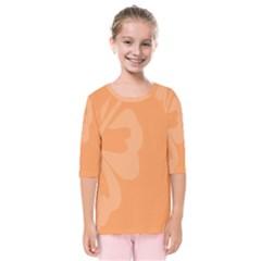 Hibiscus Sakura Tangerine Orange Kids  Quarter Sleeve Raglan Tee