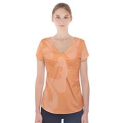 Hibiscus Sakura Tangerine Orange Short Sleeve Front Detail Top