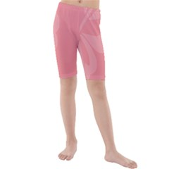 Hibiscus Sakura Strawberry Ice Pink Kids  Mid Length Swim Shorts